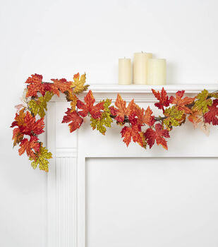 Blooming Autumn 66'' Maple Leaves & Berry Garland-Orange & Green