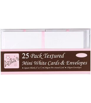 "Anita's Square Cards/Envelopes 4""X4"" 25/Pkg-White"