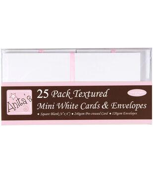 "Anita's Square Cards/Envelopes 4""X4"" 25/Pkg-White"