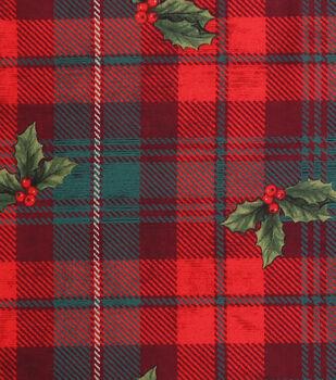 Keepsake Calico Holiday Cotton Fabric-Hollys On Plaid