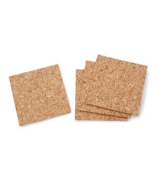 Cork 4inch Squares-4pc/pkg