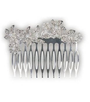 Laliberi Silver Pearl Rhinestone Hair Comb