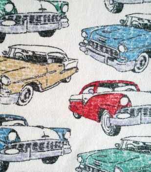 Snuggle Flannel Fabric-Classic Cars
