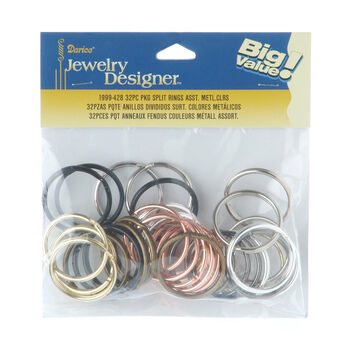 32mm Split Rings, Assorted Metallic Colors, 32pcs