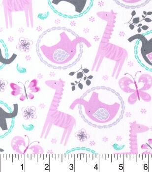 Nursery Cotton Fabric-Sara Mint Pink Tossed Ring Animals
