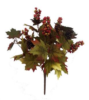 Blooming Autumn 20'' Maple Leaves & Berry Bush-Green & Orange