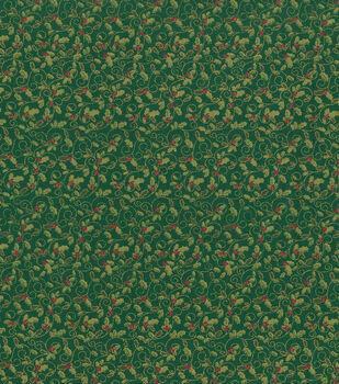 Holiday Inspirations Christmas Fabric-Micro Holly Green Metallic