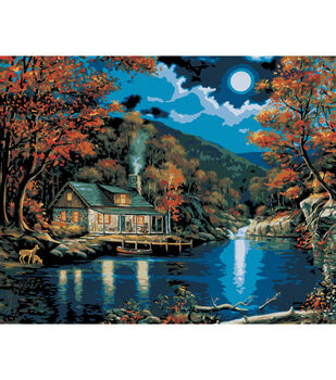 """Plaid Paint By Number Kit 16""""x20"""" Lakeside Cabin"""