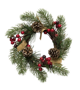 Blooming Holiday 7'' Berry & Pinecone Burlap Mini Wreath