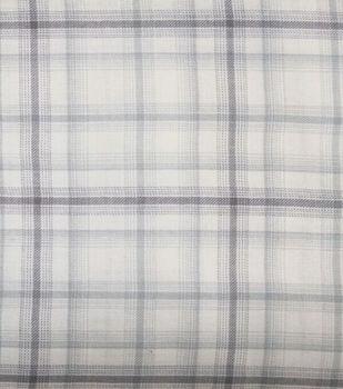 Perfectly Plaid Fabric-Rayon Ivory Gray