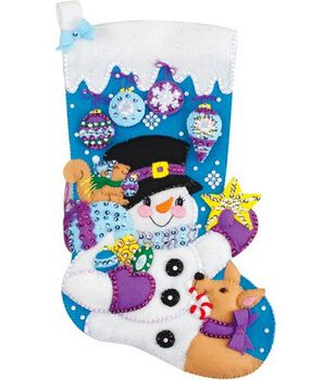 Janlynn Frosty's Favorite Ornament Stocking Felt Applique Kit