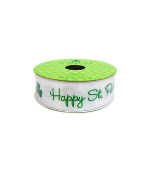 St. Patrick's Day Ribbon 0.87''x9'-Happy St. Patrick's Day