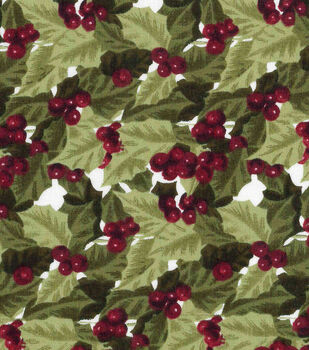Christmas Cotton Fabric-Packed Hollys On Beige Large