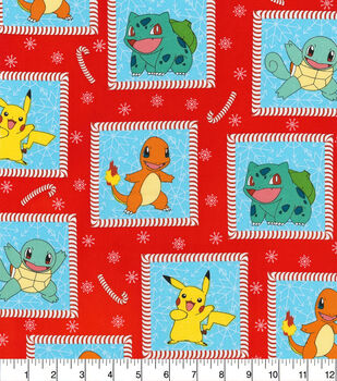 Christmas Cotton Fabric-Pokemon Christmas Squares
