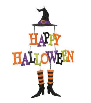 Maker's Halloween Happy Halloween Glitter Witch Decor