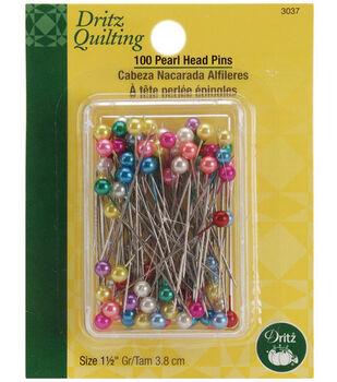 """Dritz Quilting Pearl Head Pins 1-1/2""""-100/Pkg"""