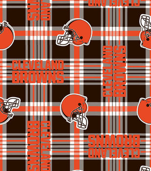 Cleveland Browns NFL Plaid Fleece Fabric by Fabric Traditions