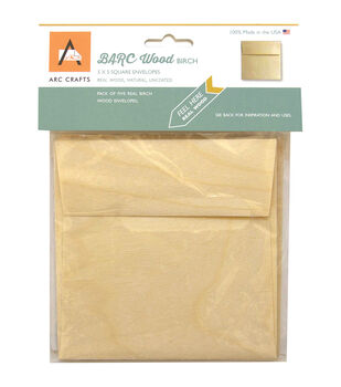 Arc Crafts BARC Wood Veneer 5ct 5''x5'' Envelopes-Birch