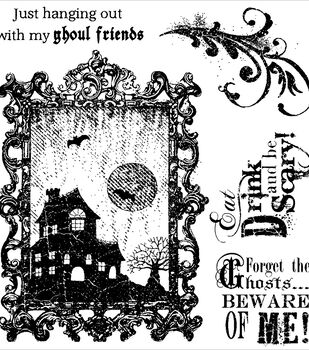 Darcie's Cling Mounted Rubber Stamps-Eat Drink And Be Scary