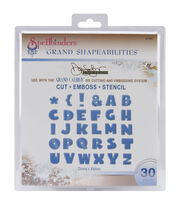 Spellbinders Grand Calibur Shapeabilities Dies-Donna's Alpha-26 Letters, 4 Punctuation, , hi-res