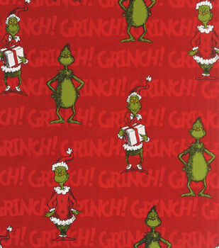 Holiday Inspirations Fabric-Christmas Grinch On Red