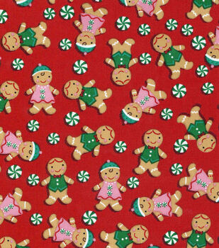 Christmas Cotton Fabric-Gingerbread Men On Red