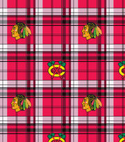 Chicago Blackhawks NHL Plaid Fleece Fabric, , hi-res
