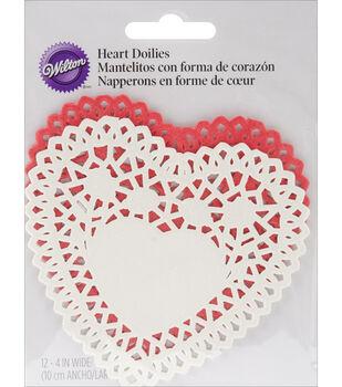 "Wilton® Paper Doilies-Red & White Heart 4"" 12/Pkg"