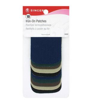 "Singer® Iron-On Patches 2x3"" 10/Pkg-Dark & Light Assortment"