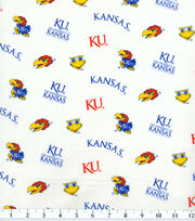 University of Kansas NCAA White Cotton Fabric, , hi-res