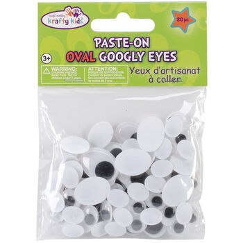 Multicraft Imports Paste-On Oval Googly Eyes Standard Black