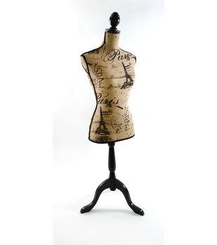 Decorative Burlap Dressform- Paris Print
