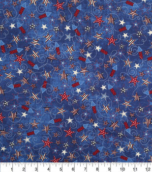 Patriotic Cotton Fabric-Rockets & Stars Navy