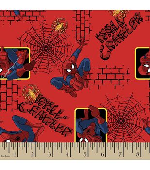 Marvel Spiderman Wall Crawler Flannel Fabric