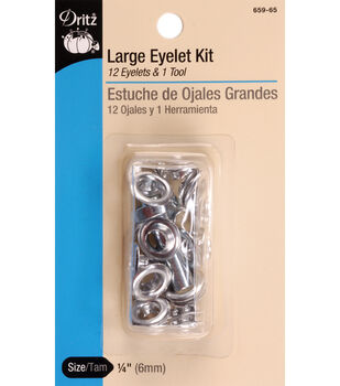 Dritz .25'' Large Eyelet Kit With Tool 12pcs