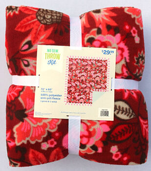 """72"""" No Sew Throw-Red Florals"""