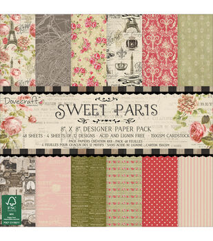 Dovecraft Sweet Paris Paper Pack 8''x8''