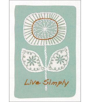 Dimensions Live Simply Mini Crewel Kit-Simple Flower