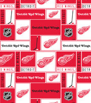 Detroit Red Wings NHL Block Fleece Fabric, , hi-res