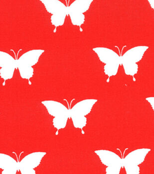 Quilter's Showcase™ Cotton Fabric-Butterfly Red/White