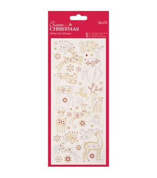 Papermania Create Christmas Glitter Dot Stickers-Reindeers
