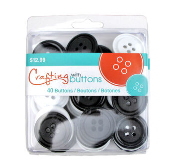 Black & White Big Button Clamshell