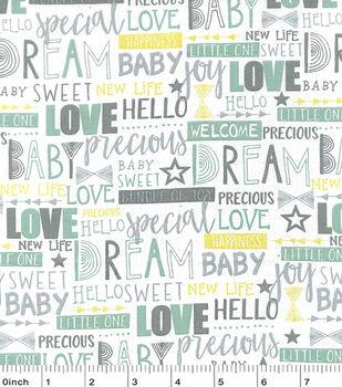 Nursery Cotton Fabric-Hayden Baby Words