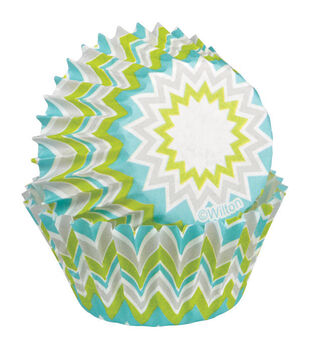 Wilton® Mini Baking Cups-Lime Chevron 100/Pkg