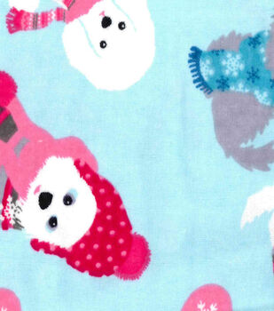 Snuggle Flannel Fabric-Bundled Up Pup