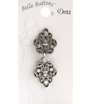 Belle Button-Metal Antique Silver Filagree Clasp