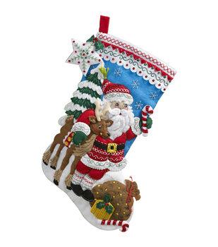 "Bucilla® 18"" Stocking Felt Applique Kit-Nordic Santa"