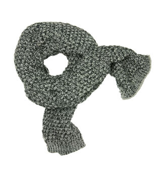 Laliberi Winter Knit Marled Scarf In Black And Grey