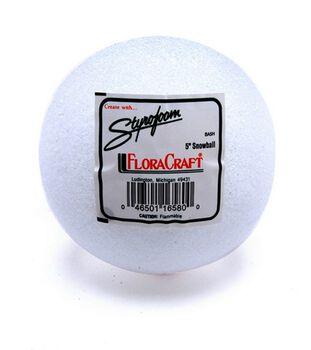 "Styrofoam 5"" Balls-1PK/White"