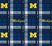 University of Michigan NCAA Plaid Fleece Fabric, , hi-res